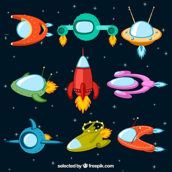 Colorful spaceships