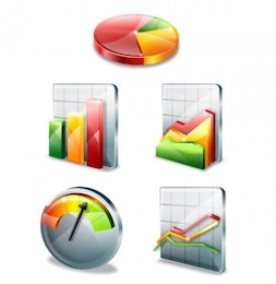 colorful stylish chart icon vector