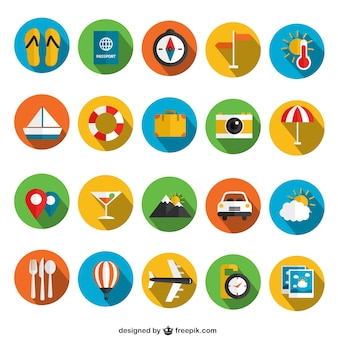 Colorful summer icons