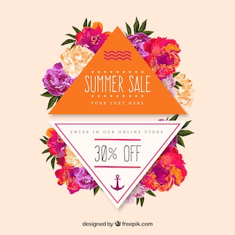 Colorful summer sale badges with flowers
