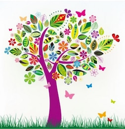 Colorful tree with patterned leaves