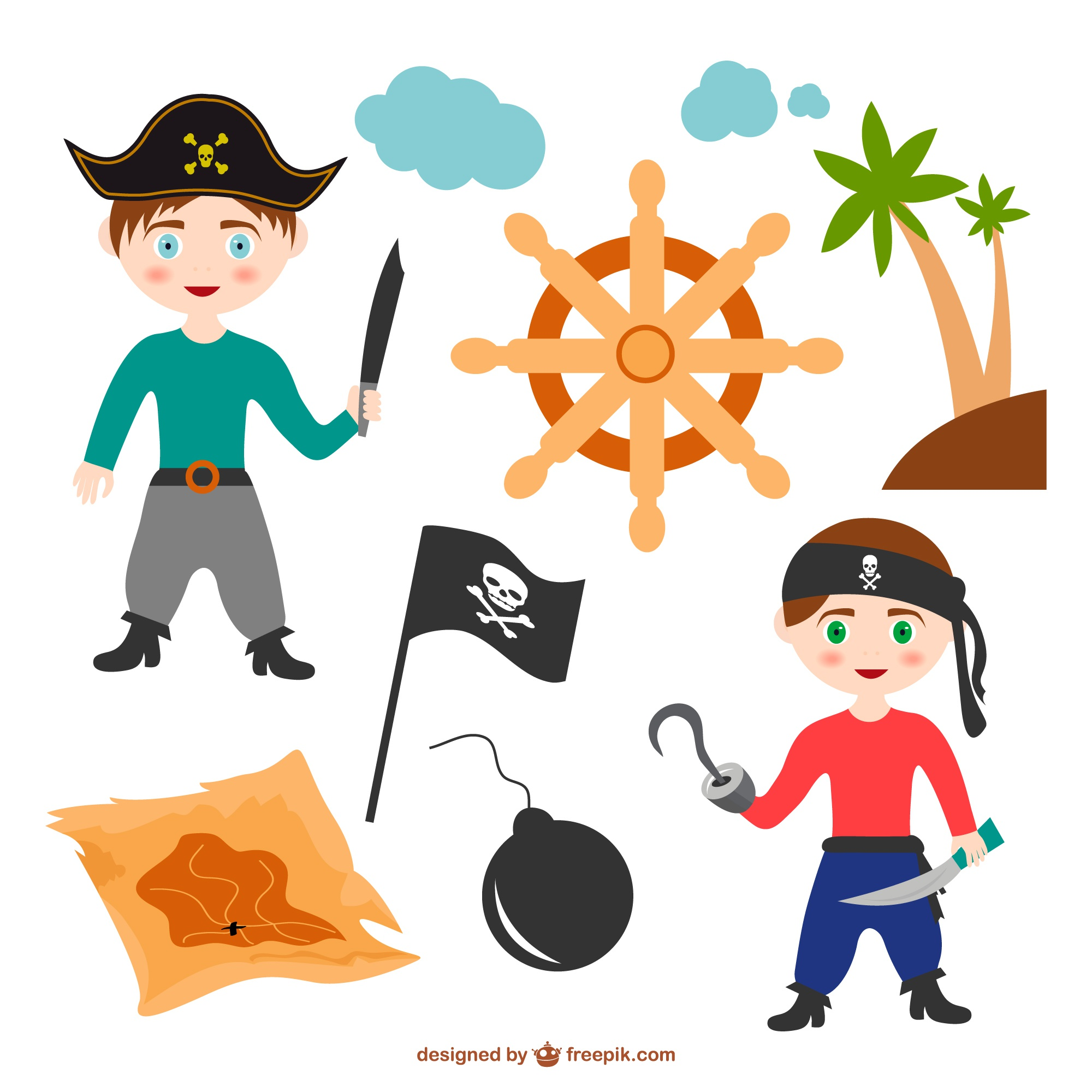 Colorful vector cartoon of pirate elements