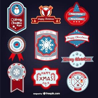 Colorful vintage Christmas labels