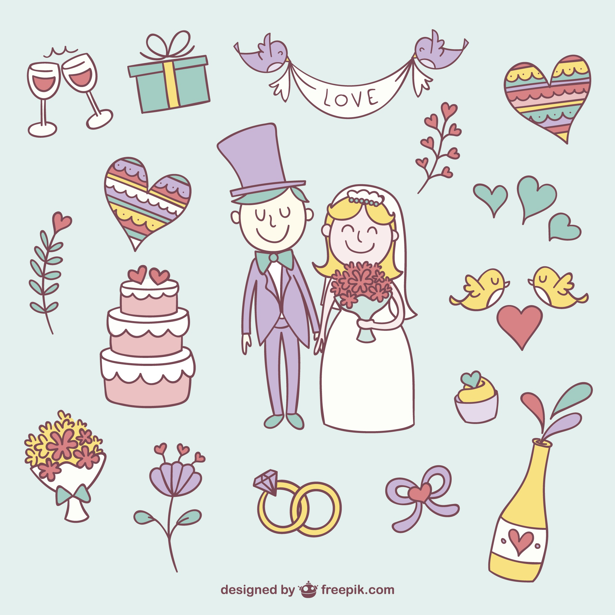 Colorful wedding scribbles