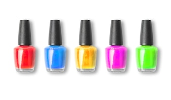 Colour nail polish bottle on white background