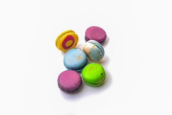 Coloured macarons top view