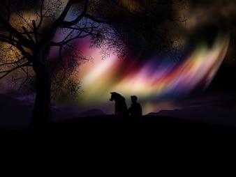 Coloured nebula landscape