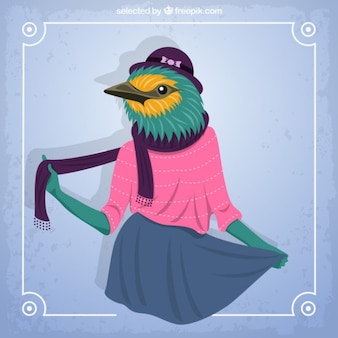Coloured sparrow fashion model