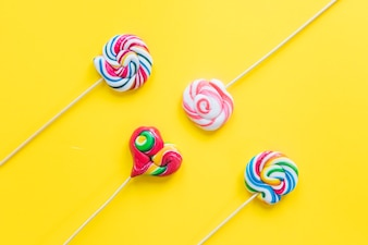 Coloured spiral lollipops