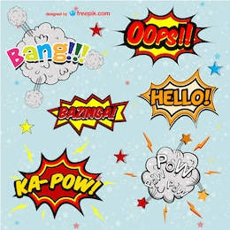 Comic book vector words set