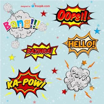 Comic book vector words set