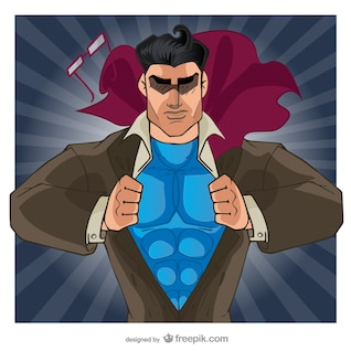 Comic superhero opening his shirt