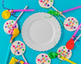 Composed balloons and plate