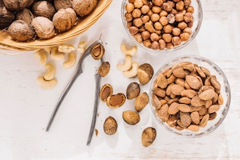 Composed mixed nuts in bowls