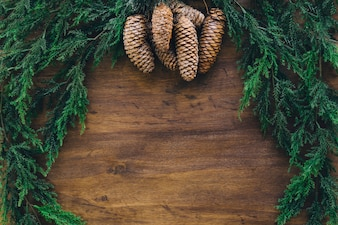 Composition for christmas with fir and space