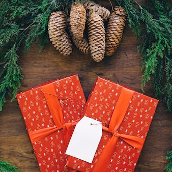 Composition for christmas with two gift boxes