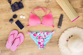 Composition of beach wear with gadgets