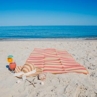 Composition on sandy beach