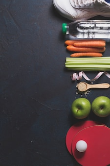 Composition with healthy food and sport items