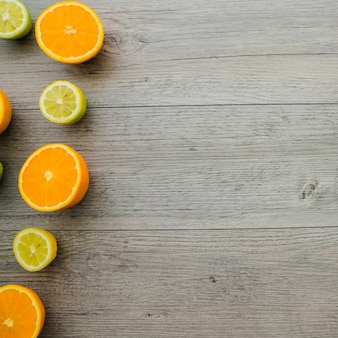 Composition with oranges, lemons and blank space