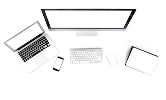 Computer, tablet, laptop and smart phone on a white background