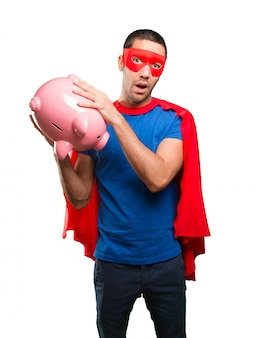Concept of a superhero worried about his economy