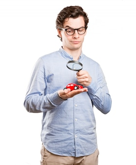 Concept of a young man and a car insurance