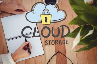 Concept of cloud storage with a drawing