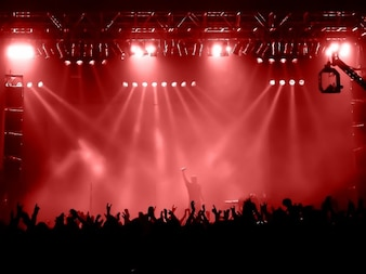 Concert scene with red lights