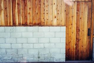 Concrete block and wood garage door