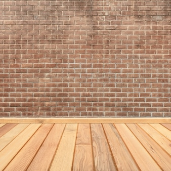 Concrete brick walls and wood floor for text and background.