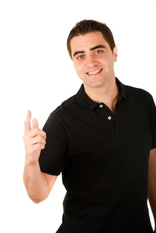 Confident man with black t-shirt