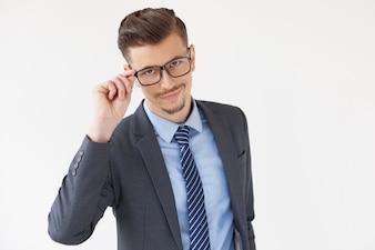 Confident Stylish Business Leader Adjusting Glasses