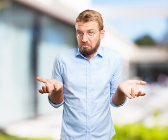 Confused businessman with blurred background