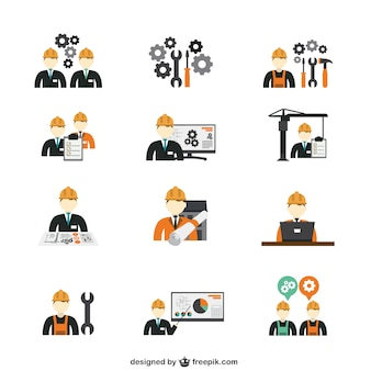 Construction engineer icons