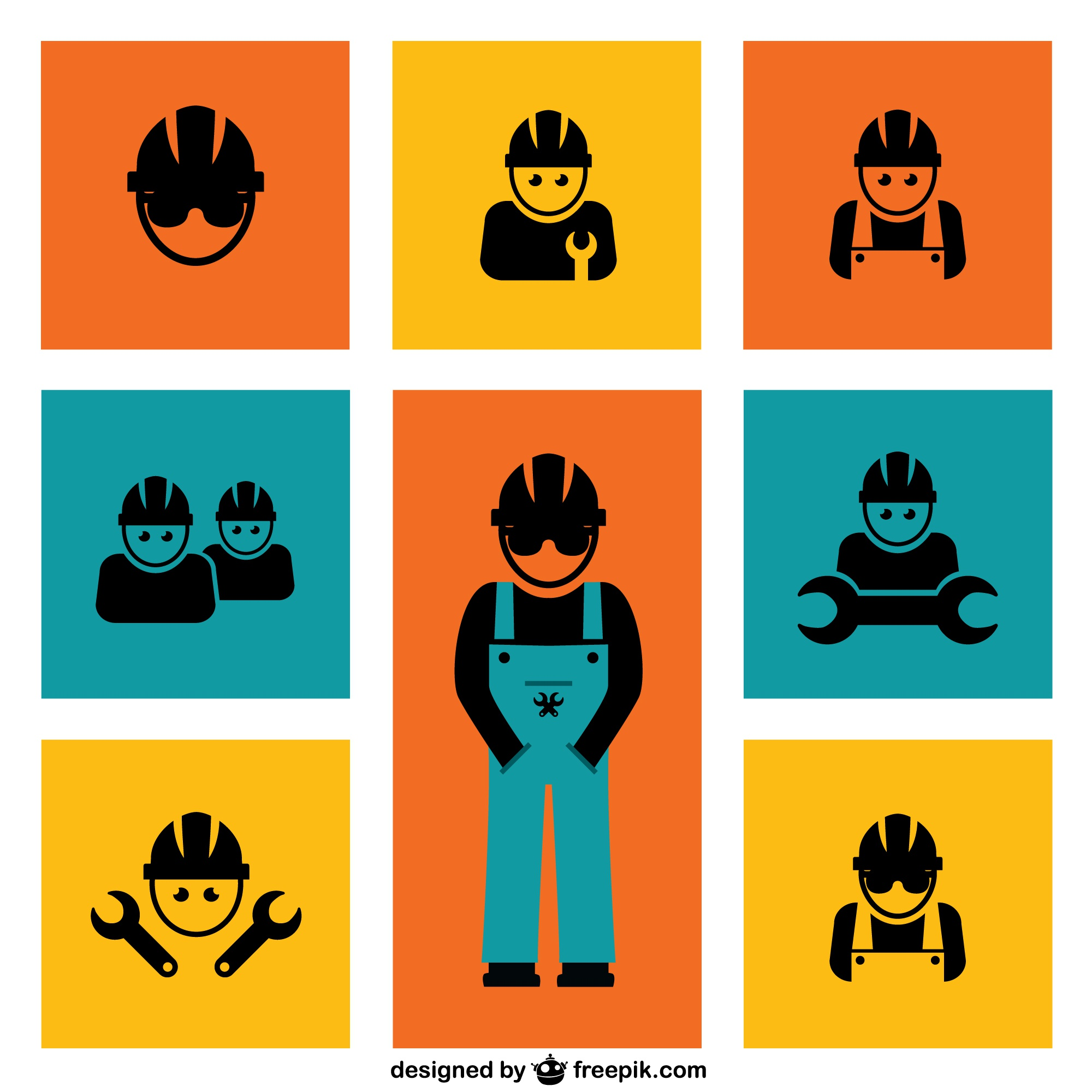 Construction workers vector elements