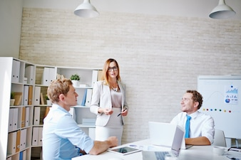 Contemporary businesspeople planning business executive