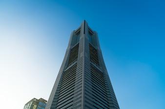 Contemporary tower skywalk skyscraper office building