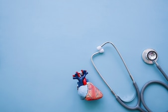 Cool composition with stethoscope and realistic heart