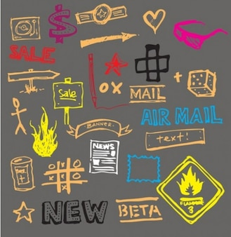 Cool scribbles and doodles vector