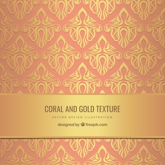 Coral and gold texture in ornamental style