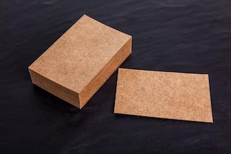 Corporate cardboard business card mockup