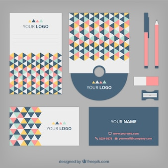 Corporate identity with colorful triangles