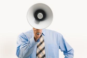 Corporate loudspeaker masculine announcement blue