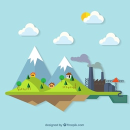 Countryside colourful landscape illustration