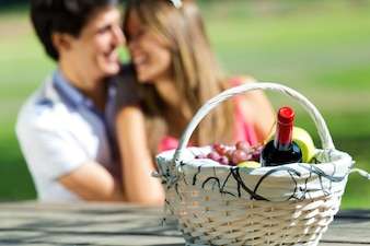 Couple and basket with vine