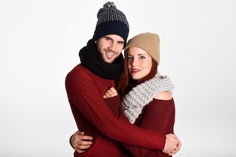 Couple dressed in red