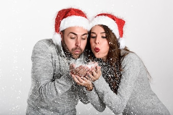 Couple dressed with winter clothes