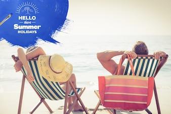 Couple enjoying the summer on the beach