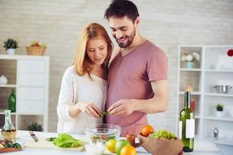 Couple healthy seasoning handsome person